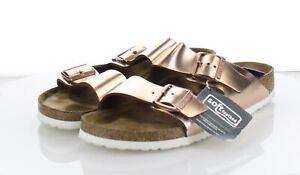 20-49 MSRP $135 Women's Sz 10 Birkenstock Arizona Metallic Leather Sandal - Pink