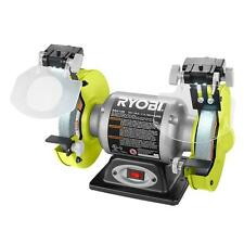 Ryobi 2.1-Amp 6 in. Bench Grinder with LED Lights Heavy Gauge Steel Power Tool