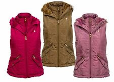 NEW Dry Laundry Ladies Hooded Gilet Quilted Faux Fur Lining Padded Bodywarmer