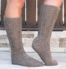 BROWN wool socks thick hand knit 100% natural organic wool mens leg warmers