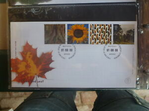 UK 2000 TREE AND LEAF SET 4 STAMPS FDC FIRST DAY COVER