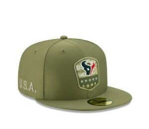 New Era 59FIFTY 2019 7 5/8 NFL HOUSTON TEXANS Armed Forces Fitted Hat Cap Camo