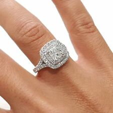 Engagement Ring 14k White Gold Gp 2.40 Ct Solitaire Cushion Diamond Double Halo