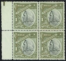 CHILE 1905 STAMP # 79a MNH VERDE CON BRONCE BLOCK OF FOUR COLUMBUS