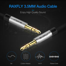 RAXFLY 3.5mm Jack Male to Male Stereo Audio Cable Lead GOLD Headphone/Aux/MP3