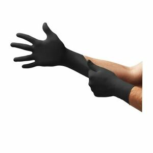 Box 100 Ansell Microflex 93-852 Black Nitrile Disposable Gloves Tattoo Valeting