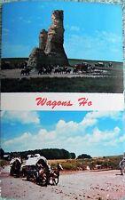 Wagons Ho! Castle Rock Gove County Kansas Wagon Train Horses Postcard Unused