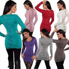 Damen Long Pullover Pulli Feinstrick Sweater Spitze Schleife Büro warm 32 34 36