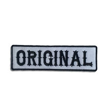 Embroidered Original Black On White Sew or Iron on Patch Biker Patch