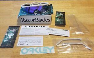 OAKLEY RAZOR BLADES HERITAGE SUNGLASSES OO9140-15 WHITE / VIOLET IRIDIUM NIB
