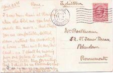 TIMBRO POSTALE 1914 ROMA FERROVIA ITALIA 10 CENTESIMI TIMBRO cartolina ROMA VILLA LAGO