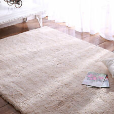 Large Cream White Ivory Beige Shaggy Floor Rug Thick  Soft Plush Modern Carpet