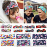 2pcs Bow Elastic Knot Turban Floral Flowers Hair Band Mother&Baby Headband