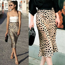 US Women Lady Leopard Print Casual Long Evening Party Cocktail Dress Mini Skirt