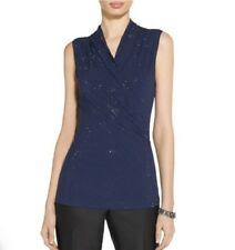 St. John Navy Jersey Front Wrap Shell S Small Embellished Textured Evening