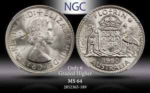 1960 AUSTRALIA SILVER FLORIN NGC MS64 ONLY 6 GRADED HIGHER