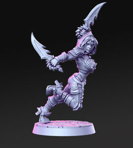 Tabletop Premium Miniature Assassin Brakha 28mm For Warhammer/ Aos / Dnd