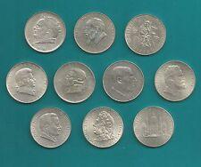 10 St.Silber-Münzen-Österreich-2 Schilling-Serie-Silber-1928 bis 1937-vz/stgl-