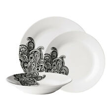 Avie 24 Piece Dinner Service Set Kitchen Porcelain Prince Black Plate Bowl Dish