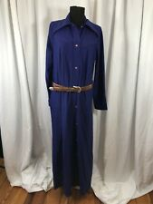 Vintage 70s Designers Blue Western Button House Shirt Dress Robe - M Made in USA