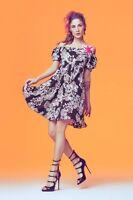 Abito, vestito, fantasia fiori, col. nero, art. 45dr12020, DENNY ROSE