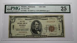 $5 1929 Mobile Alabama AL National Currency Bank Note Bill Charter #1595 VF25
