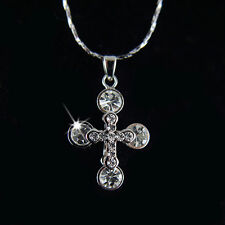 14k White Gold GF Swarovski Crystals Cross Pendant Necklace