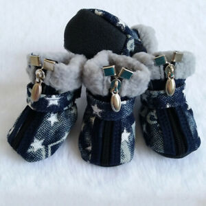 Pet Dog Shoes Winter Star Zipper Anti-Slip Snow Boots Soft Denim Warm Dog Shoes