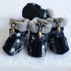 Pet Dog Shoes Winter Star Zipper Anti-Slip Snow Boots Soft Denim Warm Dog Shoes