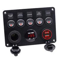 Schalttafel Schaltpanel 5-fach 12 Volt mit LED Inndikator Bootszubehör Neu