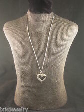 "Sophisticated & Sparkly Sterling Silver & Marcasite Heart Pendant & 16"" Necklace"