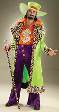 Mens Biggest Daddy Pimp Costume Leopard Trim Jacket Disco 1970's  Plus Size