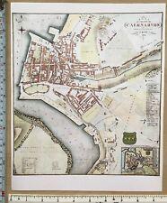 Old Antique vintage colour map Caernarvon Wales: 1800s, 1834: John Wood Reprint