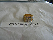 Premier Designs CODE gold cubic zirconia ring sz 7 stunning RV $63 FREE ship