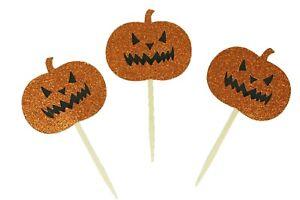 "Glitter Halloween PUMPKIN Design 2-1/2"" Cupcake Toppers CHOOSE Package Amount"