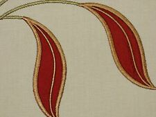 Embroidered TERRACOTTA Leaves Natural Cotton Cloth Drapery Sewing Fabric BTY
