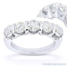Forever Brilliant Round Cut Moissanite 14k White Gold 5-Stone Ring Wedding Band