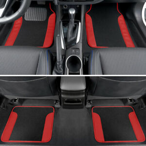 CarXS Carpet Floor Mats for Car SUV Truck Two Tone Color PU Leather Trim Red