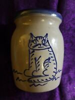 Small Salt Glazed Crock With Alert Cat
