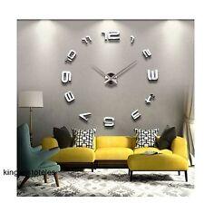 Wall Clock Sticker Modern Home Office Art Decor Mirror Decal Large 3D DIY New