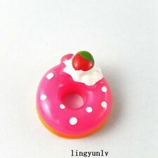 20pcs Rose Red Resin Cherry Donuts Flatback Cabochons Jewelry Crafts 51353