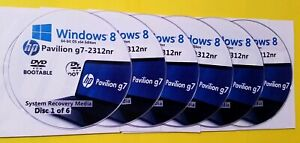 HP Pavilion g7-2312nr Factory Recovery Media 6-Discs / Windows 8 64-bit