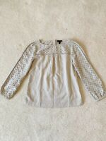 J. Crew Women's Eyelet Top Linen/cotton In Flax Tan Size 6 Tall New