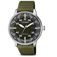 Citizen Eco-Drive Men's Quartz Date Green Nylon Strap 42mm Watch BM7390-22X