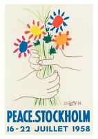 PEACE POSTER: Vintage Picasso Stockholm Festival Art Print with Flowers