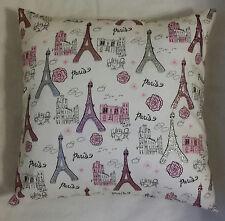 1 white pink silver glitter glam Paris Eiffel Tower pillow cover sham 14 x 14