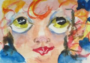 aceo big eyed fairy miniature collectible watercolor painting art Delilah