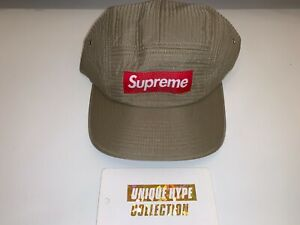 SUPREME 2015 F/W CONTOUR STITCH BOX LOGO CAMP CAP HAT 5 PANEL BRW USED PRE-OWNED