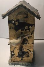 Vintage Beautiful Handmade Wooden Bird House Hang Or Mount Nicely Accented