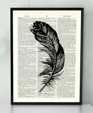 Feather Art Old Antique Book page Art Print - Vintage Dictionary Page Art Print